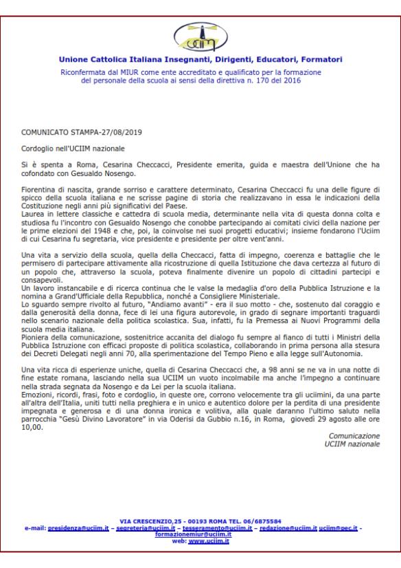 COMUNICATO STAMPA CESARINA CHECCACCI _001